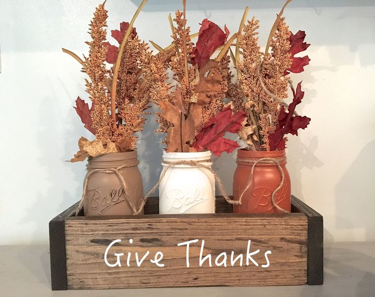 Planter Box Fall Centerpiece with Mason Jars-Give Thanks