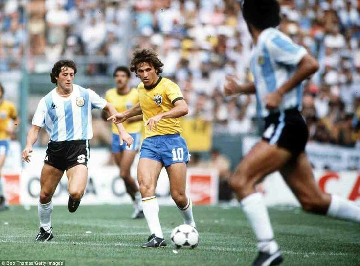 Brazil 3 Argentina 1 in June 1982. Zico has the ball in Barcelona in Phase 2 of the World Cup Finals.