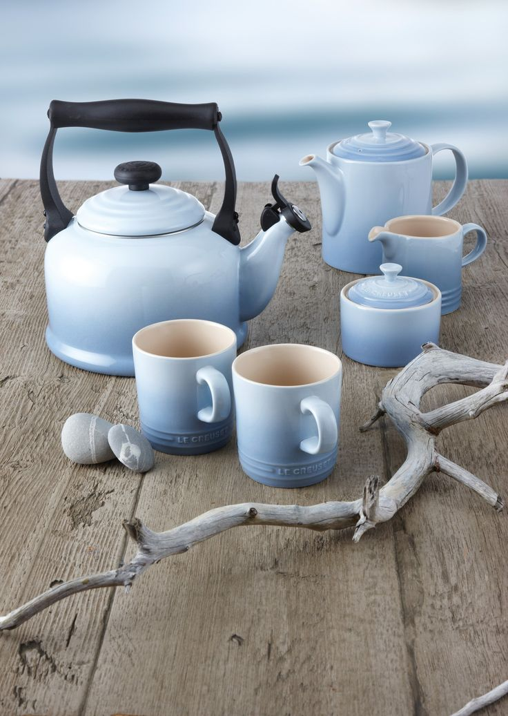 Le Creuset. I just died and went to my dream land. Tea kettle and French press in blue! :)