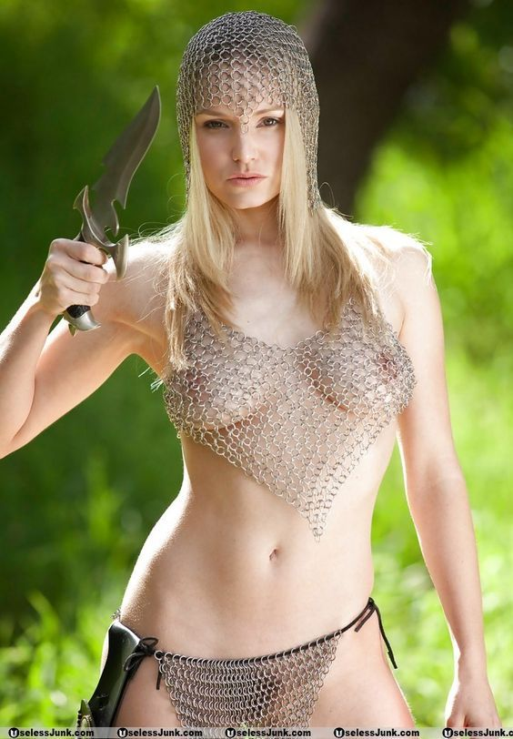 nude girl in chainmail