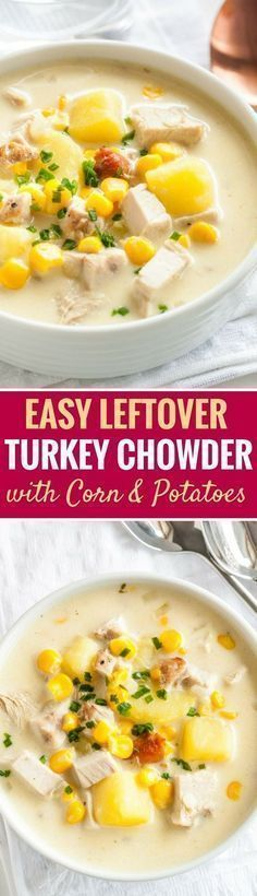 Creamy Leftover Turkey Soup with Potatoes and Corn is a rich and hearty chowder that's perfect for using leftovers from Thanksgiving! This easy warming recipe comes together in less than 30 minutes and is sure to be a family favorite. #leftoverturkey #thanksgivingleftovers #turkey #soup #comfortfood
