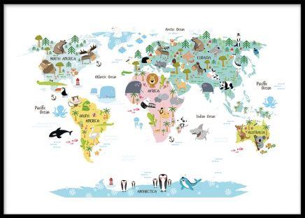 Poster med världskarta för barn. Barntavla med världskarta med djur. Vi har fler barntavlor med djur och kartor. Denna karta passar fint tillsammans med andra posters och tavlor med motiv för barn.
