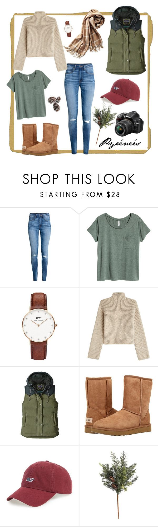"""Pyrenees"" by meritxellespv on Polyvore featuring H&M, Daniel Wellington, Rosetta Getty, Patagonia, UGG Australia, Vineyard Vines, Nikon and Frontgate"