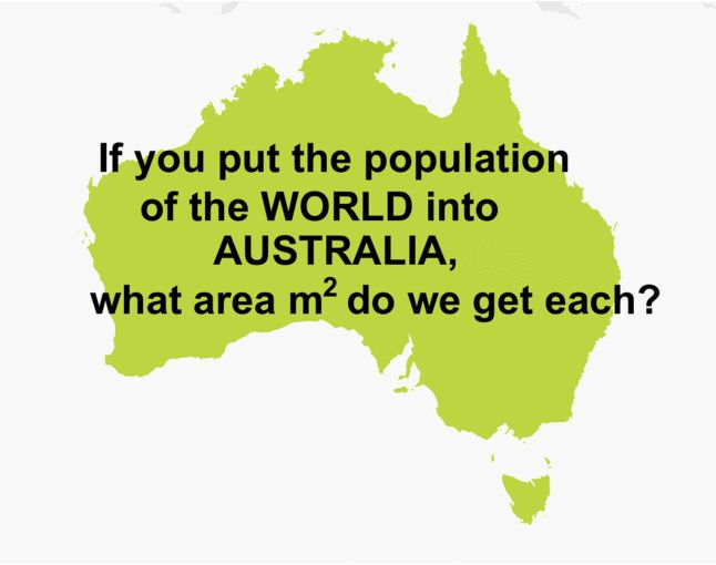 If you put the entire population of the world into Australia, what area in m^2 do we get each?