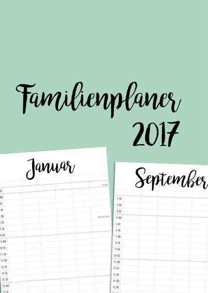 Wandkalender - Familienkalender 2017 zum Ausdrucken als PDF - ein Designerstück von minkeding bei DaWanda