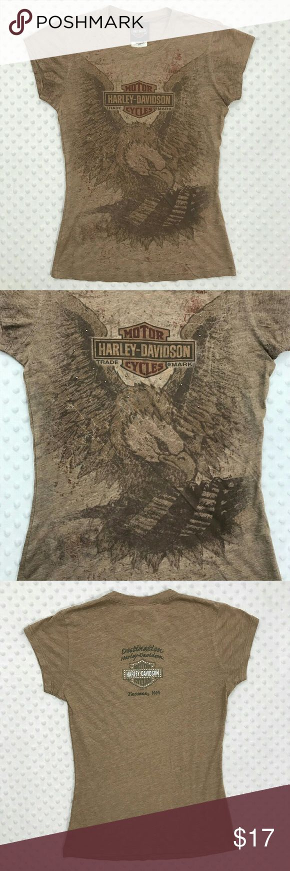 Harley Davidson Brown Short Sleeve Item: Harley Davidson Women's Small Brown Short Sleeve Eagle Print Jeweled Knit Top  Size: Small  Refer to measurements below for accurate fit! Measured flat:  16  inches armpit to armpit 1 inches armpit to the end of the sleeve 22  inches from collar seam to shirttail  Base Color: Brown  Fabric: Cotton, Polyester Harley-Davidson Tops Tees - Short Sleeve