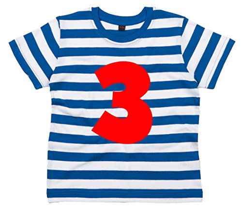 BLUE & WHITE STRIPED Children's T-Shirt 'PERSONALISED NAME & NUMBER' with Red Print.