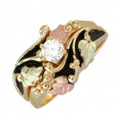Antiqued Black Hills Gold Diamond Engagement Wedding Ring Set - MyBlackHillsGold.com