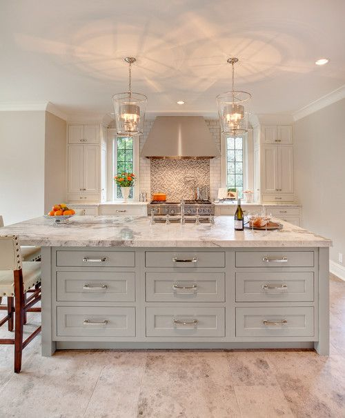 Gray and white countertop
