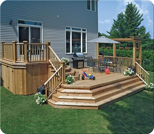 158 best images about deck and porch ideas on pinterest for Multi level patio designs