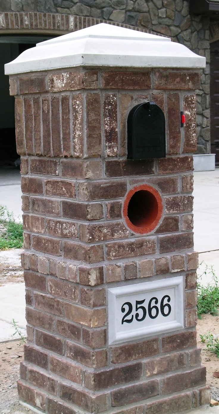brick mailbox flag. a row of ends within brick mailbox, to match the above windows in house mailbox flag p