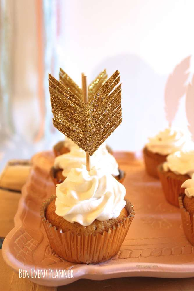 Cupcakes at a boho tribal birthday party! See more party planning ideas at CatchMyParty.com!