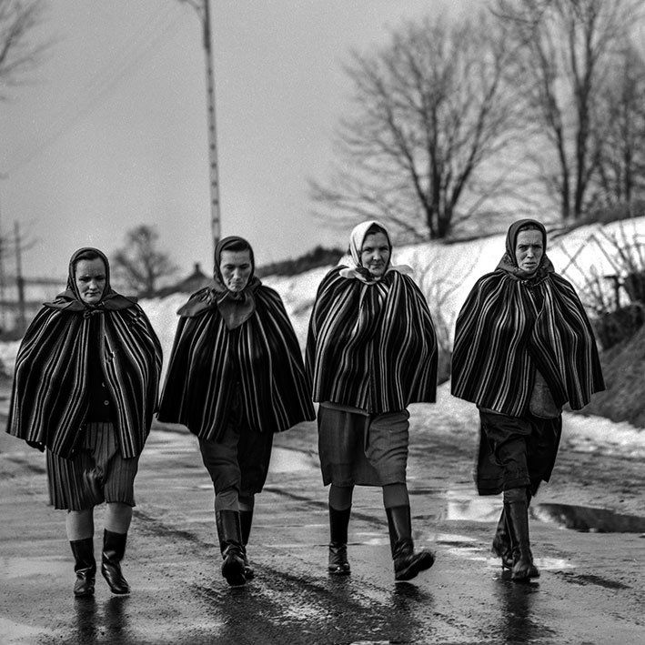 Four woman in traditional folk shoulder aprons in Kielce, Swietokrzyskie region, 1970.