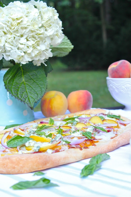 Peach Pizza with Basil and Blue Cheese