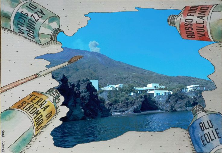 Stromboli - postcard, mixed media - july 2015