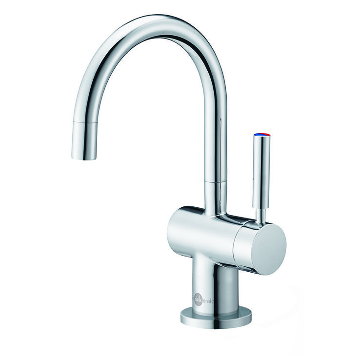 InSinkErator Indulge Modern Hot/Cool Faucet (FHC3300) Chrome | InSinkErator  ***A separate filtered water dispenser decouples the appearance of the fridge from having filtered water.****  Franke makes one too that doesn't look too bad****