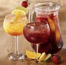 OUR PeachBerry Sangria 1 bottle (750 ml) Riesling * 3/4 Cup Peach Vodka or Peach Schnapps * 1/4 Cup Sugar * 6 Tbsp Frozen Lemonade Concentrate * (Fresh or Frozen) Peaches, Strawberries and Raspberries * Chill for at least 2 hours * Add Sprite or Diet Sprite to dilute/add sparkle. Delicious both ways. Serve over crushed ice.