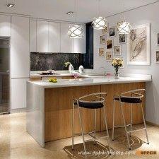 OP16-L05: Blanco Moderno mate de la laca y melamina Grano de madera del gabinete de cocina