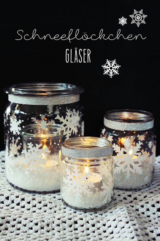 Snowflake Glass Jar Candle Votives