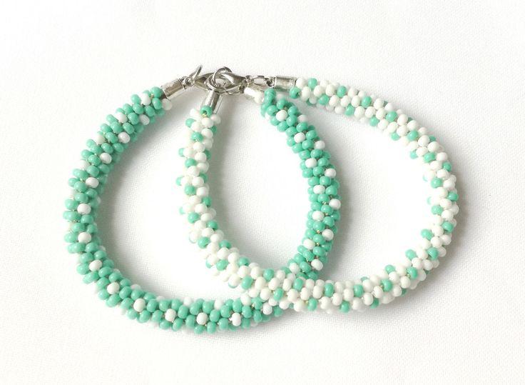 White  and teal handmade beaded bracelate (Kumihimo) - Memet Jewelry by MyMemet on Etsy
