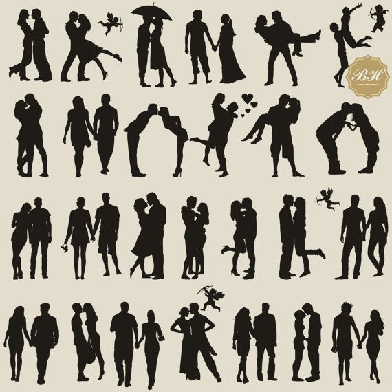 Couple Silhouette Clipart Couples Silhouettes by BHdigitalBox
