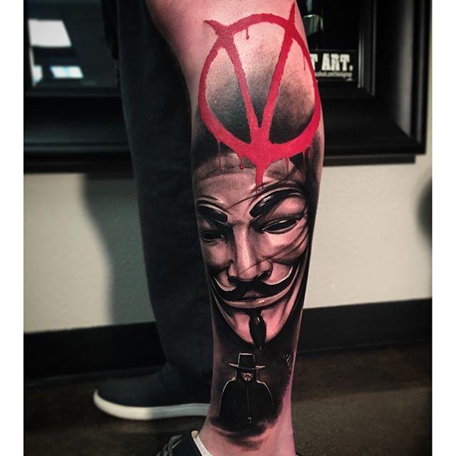 V For Vendetta Tattoo by Kevin Furness #vforvendetta #movie #portrait #kevinfurness