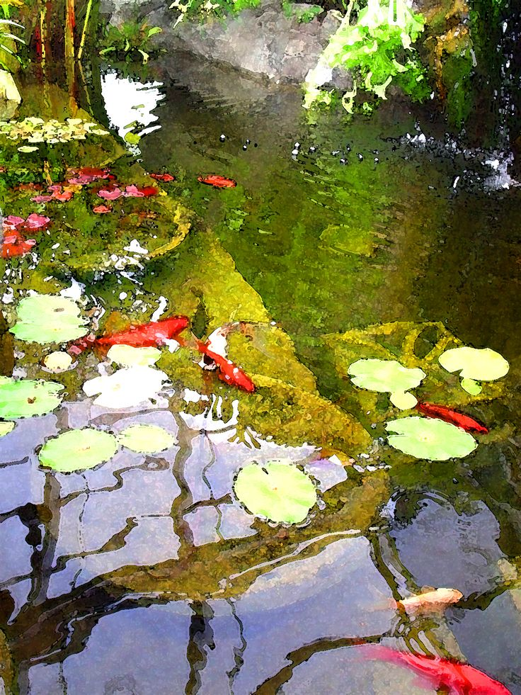 Koi pond art for your garden or home at loftintileworks for Goldfish pond