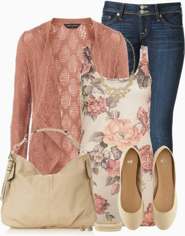 Pretty flower top. I like this look with the cardigan on top.