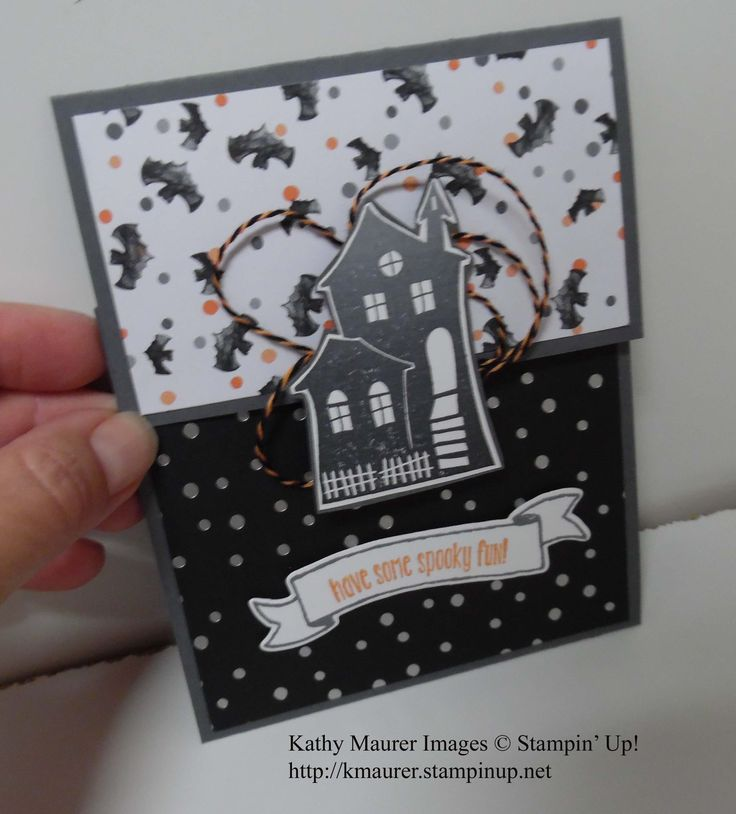 Halloween Card featuring Stampin' Up!'s Halloween Scraes and Spooky Fun Stamp Sets.  Also features Halloween Night Paper.  For details, go to my Wednesday, September 14, 2016 blog at http://www.stampinup.net/blog/2130686/entry/halloween_scares_fancy_fold_card