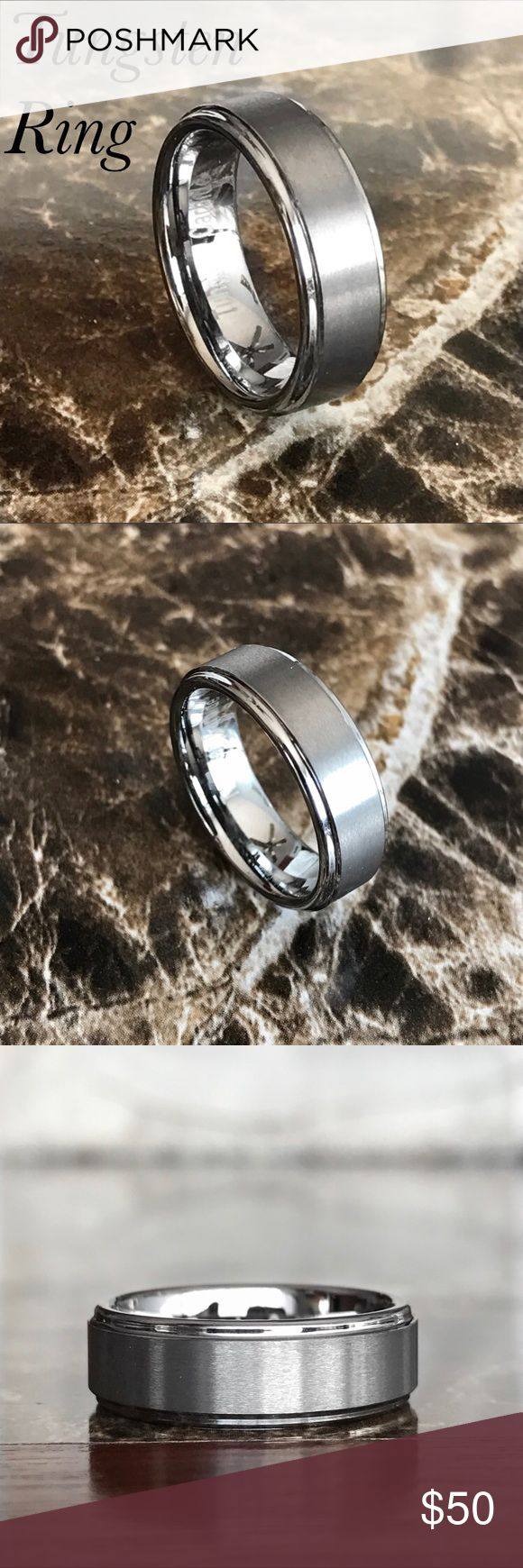 Silver Tungsten Carbide Ring Wedding Band Brand new No trades  Sizes available 7/7.5/9/9.5/11.5/12.5  Material: Tungsten Carbide Band Width: 8MM Fit: Comfort Finish: Brushed Color: Silver  Tungsten is two times tougher than steel and twice the density of steel. It will not rust, tarnish or turn your finger green.                                              ~Ring box included ~ Accessories Jewelry