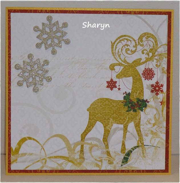 November 2013  Our first Guest Designer is Sharyn. She has used  a collection of  Bo Bunny papers called Silver and Gold along with some wording stamps from Stamp It to create this lovely collection of cards.