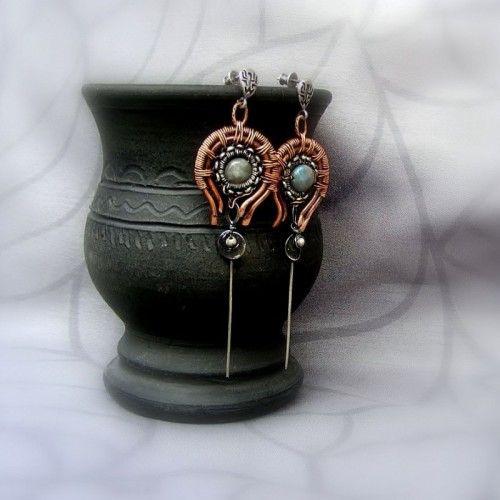 Wyjątkowe srebrno miedziane kolczyki wirewrapping