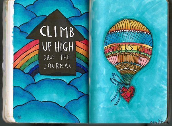 Wreck this journal - Climb up high drop the journal page