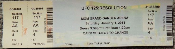 UFC ULTIMATE FIGHTING UFC 125 ORIGINAL USED TICKET MGM LAS VEGAS, JAN 1 2011 #UFC125