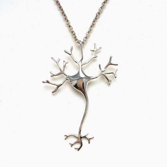 science jewelry: silver neuron necklace - 3D printed neuron pendant - wearable nerve cell - brain cell:
