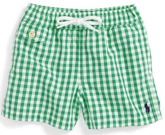 New Baby Gifts: Ralph Lauren Green Gingham Check Swim Trunks for Baby Boys  @ Nordstrom