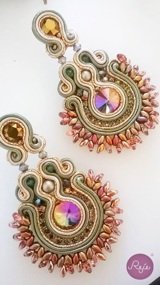 Soutache chandelier statement earrings Entirely hand-sewn by Reje, Italian jewelry designer.