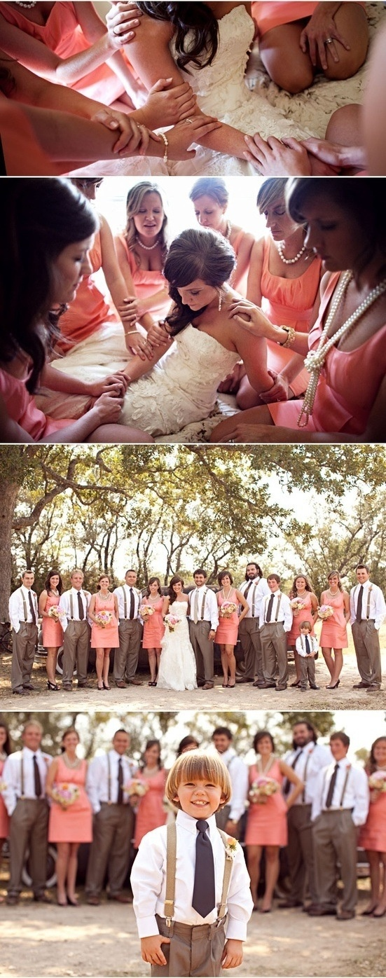 the wedding party is exactly what i want! except brighter coral and lighter pants. also, groom wears a vest as well.