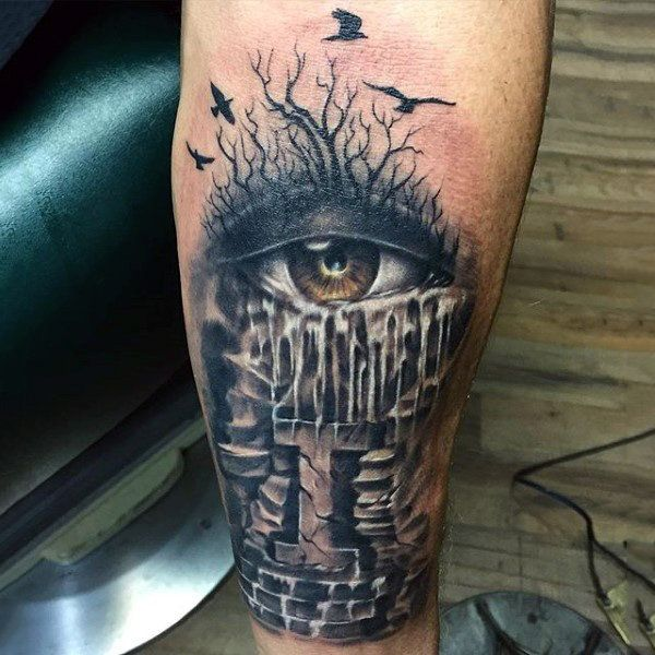 ALTERNATE TREE TATTOO | Top 100 Eye Tattoo Designs For Men - A Complex Look Closer