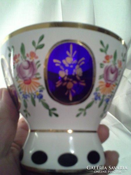 Biedermeier dupla falú hántolt,festett üveg váza