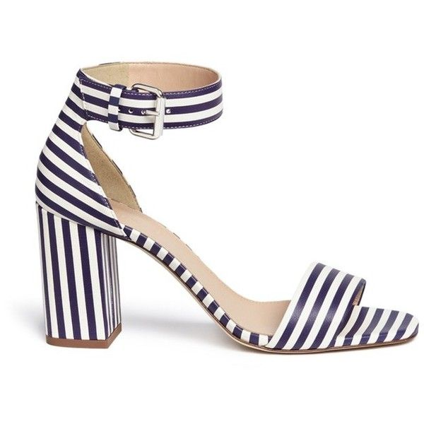 j.crew Striped strappy high-heel sandals ($460) ❤ liked on Polyvore featuring shoes, sandals, strappy sandals, j.crew sandals, chunky heel sandals, thick heel shoes and strap sandals