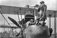 The F.E 2d was one of the first aircraft to be used for close air support in 1917 (the observer is demonstrating the use of the rear-firing Lewis gun).