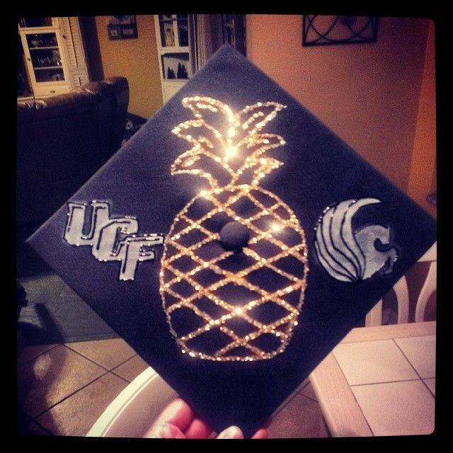 UCF Graduation Cap Decoration Hospitality Major #UCFalumni #pineapple