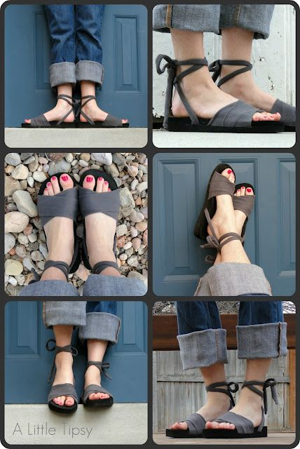 DIY/Tutorial: Upcycled shoes, made from an old t-shirt and flip flops