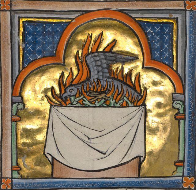 A Phoenix, Bestiary ca. 1270