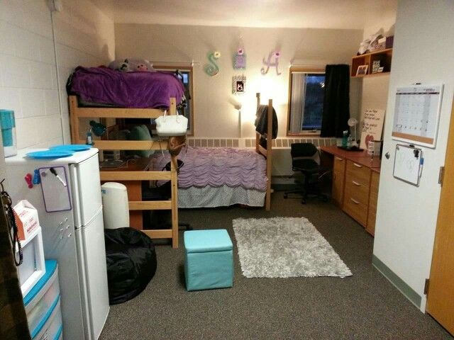 Dorm room. Dorm room set up and color scheme. Northern Arizona University, Gabaldon Hall.