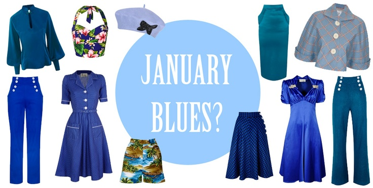 January Blues? Dont fear Tara Starlet is here! #sailorslacks #winterdancing skirt #bamboo blouse #hourglass skirt #hawaiian shorts #hawaiian halter bodice #victory jacket #beret #utility dress #blue #january #cold #fashion #vintage #pinup #rockabilly #trend #tara #starlet