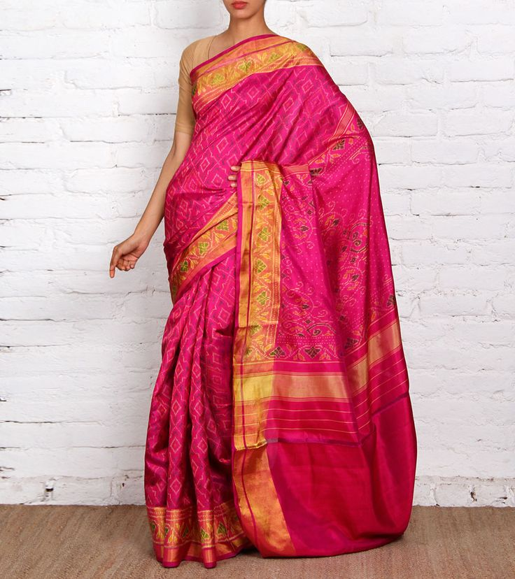 Pink Pure Silk Patola Saree