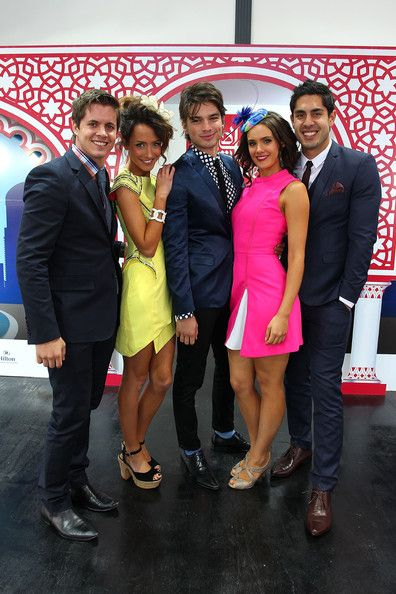 Home & Away stars Johnny Ruffo, Isabella Giovinazzo, Jackson Gallagher, Cassie Howarth and .Tai Hara pose at the Fashions on the Field marquee during Stakes Day at Flemington Racecourse on November 9, 2013 in Melbourne, Australia.
