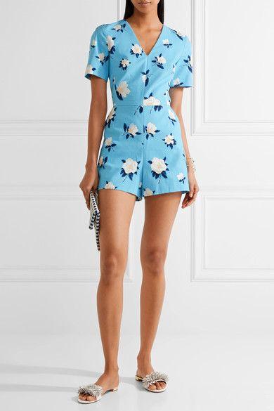 Draper James - Cutout Floral-print Cotton-piqué Playsuit - Blue - US10